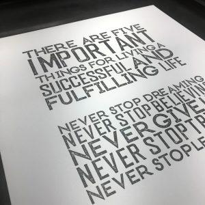 5 Things letterpress Print