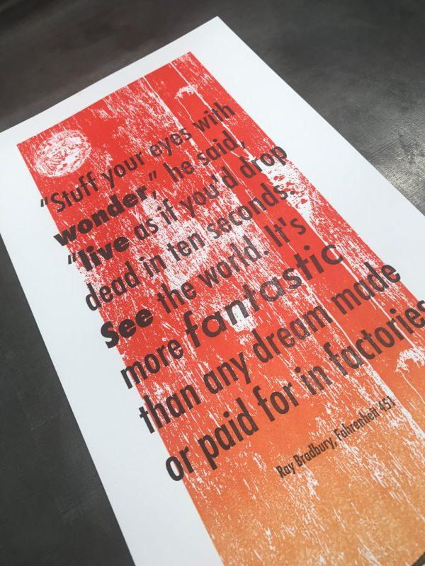 Ray Bradbury Fahrenheit 451 letterpress print