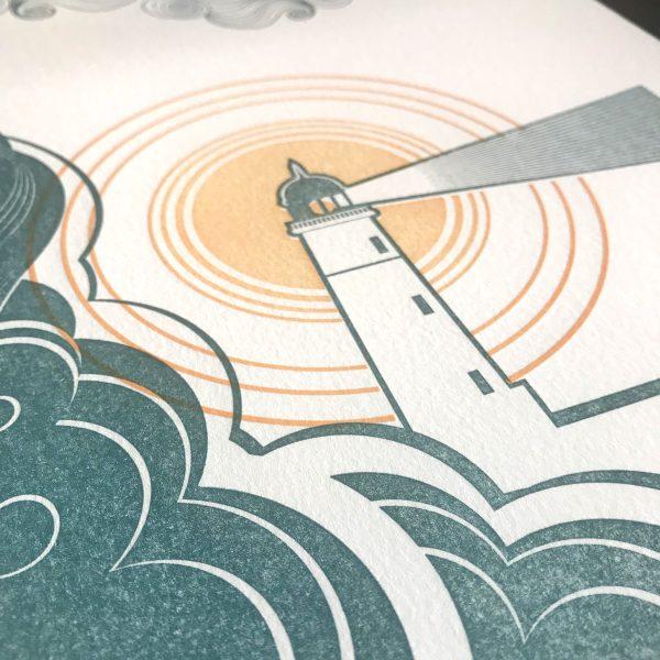 Lighthouse Letterpress Print