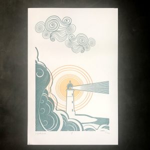 Lighthouse Letterpress Print