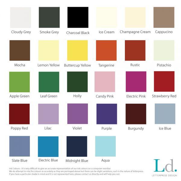 Letterpress Ink Colours