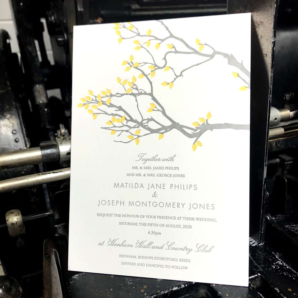 2 colour letterpress wedding invitation