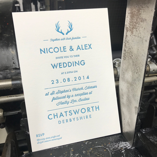 1 colour letterpress wedding invitation
