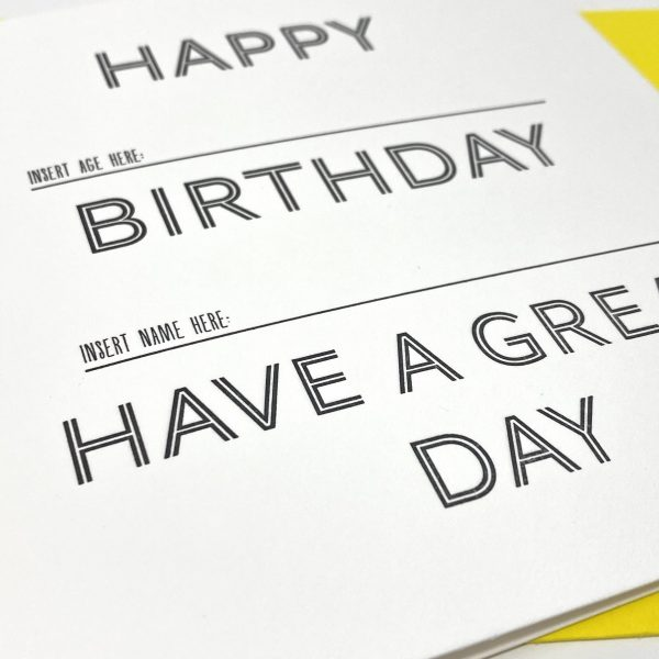 Letterpress Funny Birthday Card