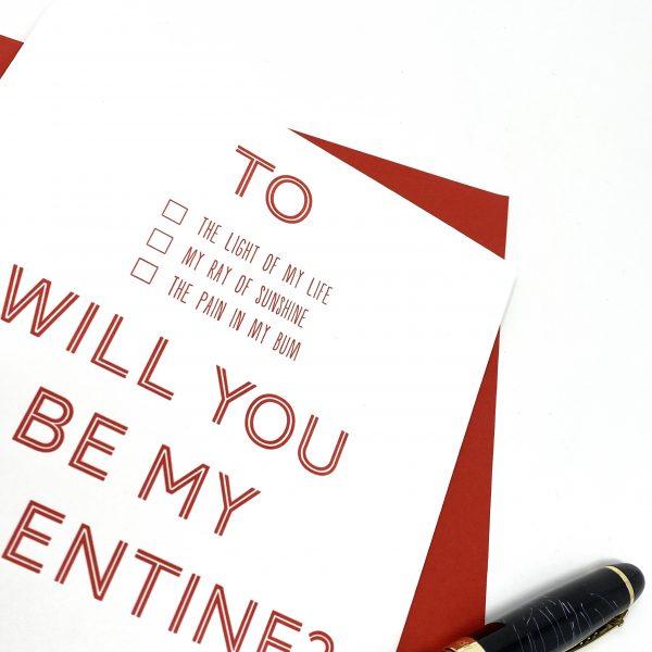 Letterpress valentines card